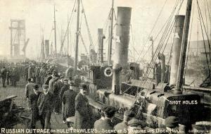 UK - Scotland, St Andrews Dock - Hull. Russian outrage on Hull Trawlers