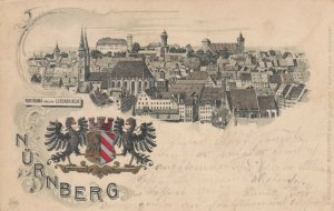 NURNBERG, Germany, 1900-10s; Panorama von den Lorenzkirche, Coat of Arms