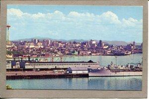 Postcard WA Seattle Waterfront Pier 91 Space Needle Naval Ship 2651N