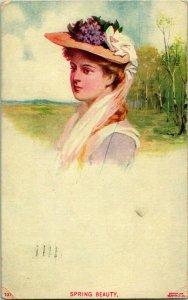 Vtg Postcard 1908 Porter Vintage Ladies - Spring Beauty