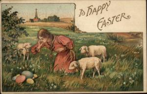 Easter - Beautiful Girl in Field w/ Lambs & Colored Eggs Embossed Postcard