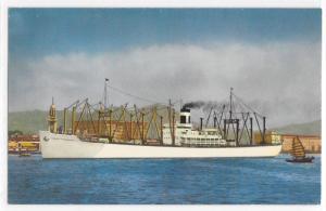 S. S. Pacific Transport in Hong Kong Harbor White Cargoliner Ship Boat Postcard
