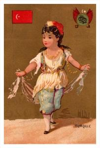 Turquie  Flag, Girl   Victorian  Trade Card
