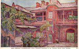 New Orleans, LA, Old Creole Courtyard Painting, 1951 Vintage Postcard g8273