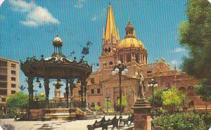 Mexico Kiosk and South Side Of Catedral Guadalajara 1961