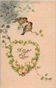 F99/ Valentine's Day Love Holiday Postcard c1910 SILK Birds Gift Love 22