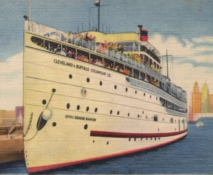 Vintage SS City of Grand Rapids Steamship Postcard Great Lakes MI Cruise
