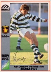 Andrew Ferreira Zimbabwe Hand Signed Rugby 1991 World Cup Card Photo