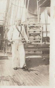 RP: Navy Sailor posing onboard ship, 1914