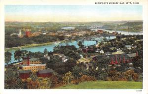 Marietta Ohio Hillside View~Houses-Factory? Buildings-River Bridges-Church~1920s