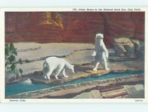 Unused Linen POLAR BEARS AT NATURAL ROCK ZOO Denver Colorado CO hk6441