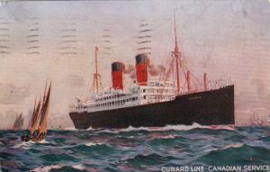 Cunard Line Canadian Service, Steamer Ocean Liner, Sailboats,  PU-1912