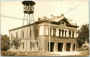 MADISON, Nebraska RPPC Real Photo Postcard CITY HALL Fire Station c1910s Unused