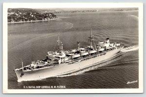 USNS General MM Patrick~Birdseye WWII Troop MSTS C-4 Transport Ship~c1950 RPPC