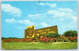 Pomeroy OH~Shade River Forest~Forked Run State Park Sign~Division of Parks~1965