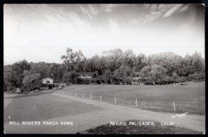 California Will Rogers Ranch Home PACIFIC PALISADES - Kodak Stamp Box RPPC