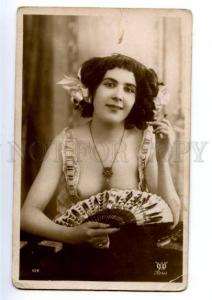 156722 Semi-Nude BELLE Woman w/ Fan SMOKING vintage PHOTO