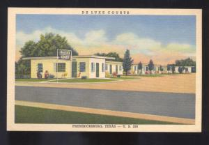 FREDERICKSBURG TEXAS DE LUXE COURTS MOTEL LINEN ADVERTISING VINTAGE POSTCARD