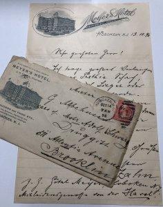Vtg Lot 1896 MEYER'S HOTEL J.H. TIMKEN Hoboken New Jersey Letterhead & Envelope