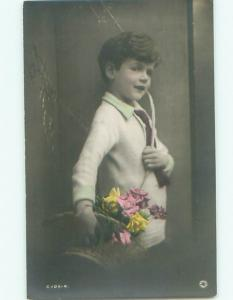 Old rppc KIDS - CHILDREN SCENE Great Postcard AB1923