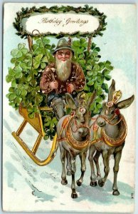 1910s BIRTHDAY Greetings Embossed Postcard Gnome Elf Donkey Cart / Clover UNUSED