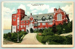 Peekskill New York~St Mary's School~Lamp Post on Path Corner~1920s Postcard