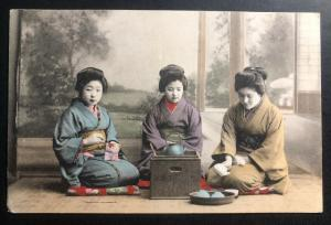 Mint Japan Color Picture Postcard Girls Drinking Tea