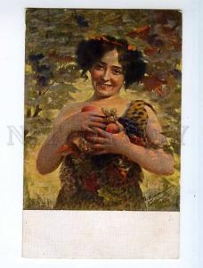 249658 Charming Lady Fruits IZMAILOVICH Old RUSSIAN Fedorov PC
