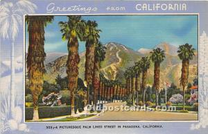 Greetings from Pitcutesque Palm Lined Street in Pasadena, California, CA, USA...