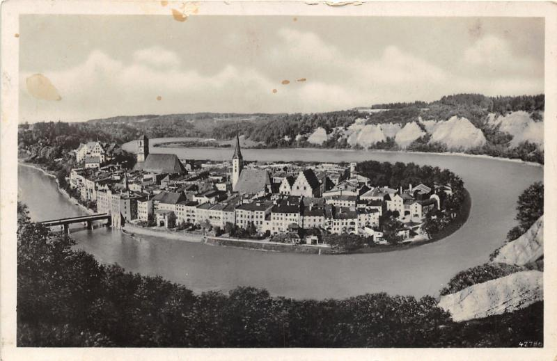 Wasserburg am Inn Germany~Bird's Eye View of City on Peninsula in River~RPPC