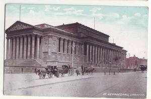 P1028 old card st. george hall liverpool england horses and wagons