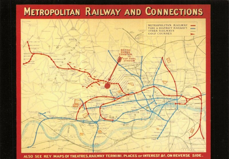 Postcard London Reproduction 1924 Metropolitan Railway & Connections 4Y