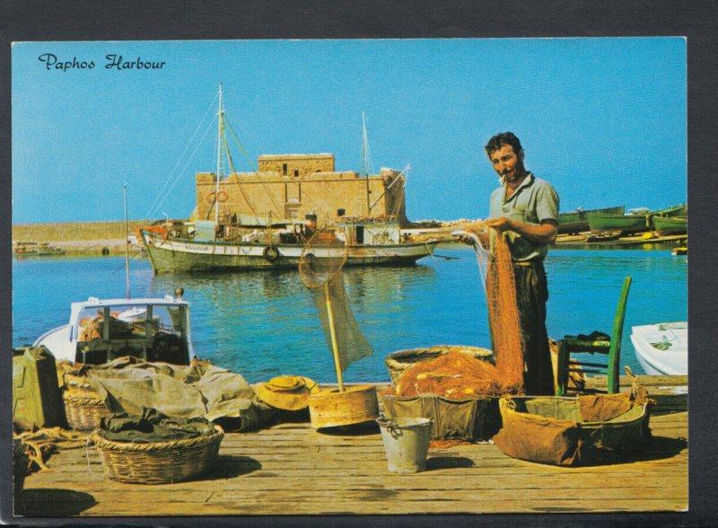 Cyprus Postcard - Paphos Harbour, Fisherman  RR6441