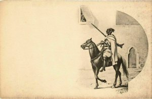 CPA AK Soldier on a Horse and a Lady in the Window - Types MAROC (964031)