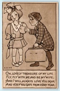 2 Postcards E.E. NOE Artist Signed MARRIAGE PROPOSAL & Romance Children 1910