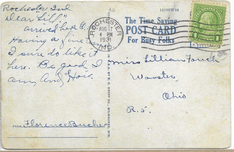 US. Used.  Indiana. Mailed 1931.