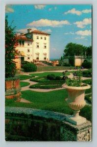 Miami FL- Florida, Vizcaya, Dade County Art Museum, Chrome Postcard