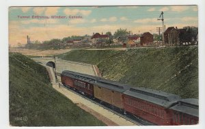 P1980, 1912  R.P.O. postcard old  RR train & tunnel windsor ontario canada view