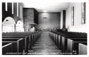 Schleswig IA Interior of United Church of Christ~Pulpit to Pew~Table RPPC c1950