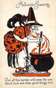 Halloween Postcard Old Vintage Post Card Series 1133, Witch, Black Cat 1920