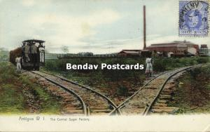 antigua, W.I., The Central Sugar Factory, Railway Train (1910s)