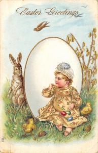 Easter~Baby Plays Peek-A-Boo With Rabbit Around Exaggerated Egg~Gold Leaf Emboss