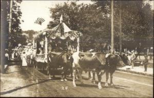Parade Oxen Drawn Float 1910 Orange MA Written on Back Real Photo Postcard