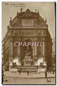 Old Postcard Paris Fountain St Michel