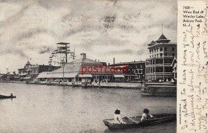 1906? ASBURY PARK NJ West End of Wesley Lake ferris wheel, to Gura Pollack, 7428