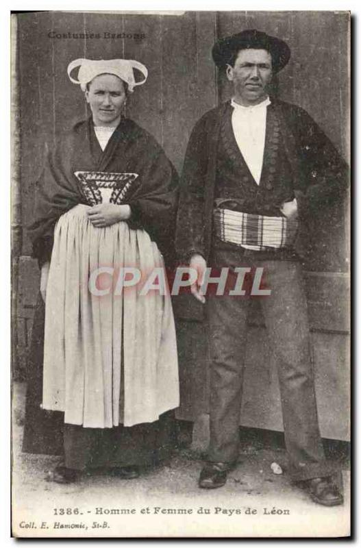 VINTAGE POSTCARD Man and Woman of the Country of Leon Folklo