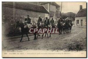 Old Postcard Army Patrol Spahis Moroccans through the village of Ribecourt