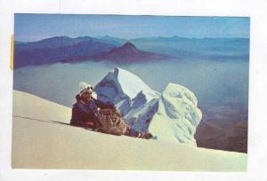 Mountain Climber relaxing, El Cotopaxi, Ecuador, PU 1980