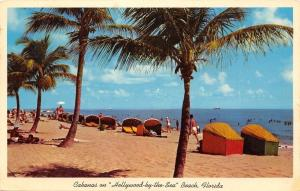 Hollywood By The Sea Florida~Beach Cabanas~Palm Trees~1955 Postcard