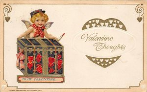 LP75  Valentine's Day Postcard Winsch Cherub Trunk full hearts